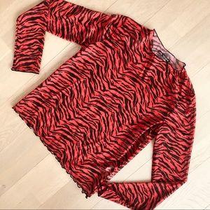 NWT ZARA Red Zebra Stripe Tulle Satin Shirt